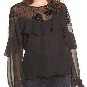 Band of Gypsies Boho Black Open Floral Lace Top L